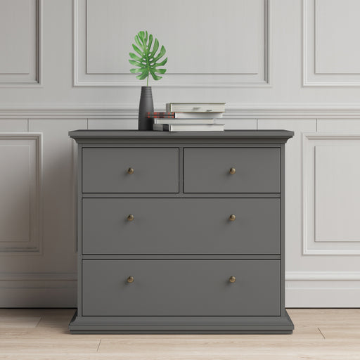 Paris Chest of 4 Drawers in Matt Grey