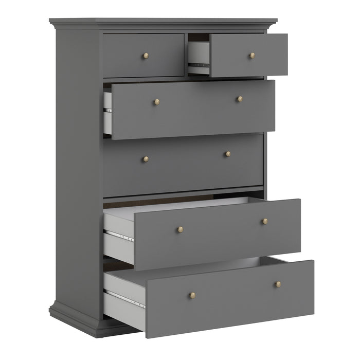 Paris Chest of 6 Drawers in Matt Grey