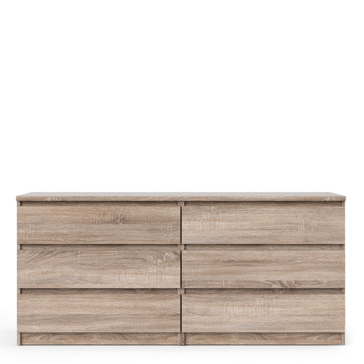 Naia Wide Chest of 6 Drawers (3+3) in Truffle Oak