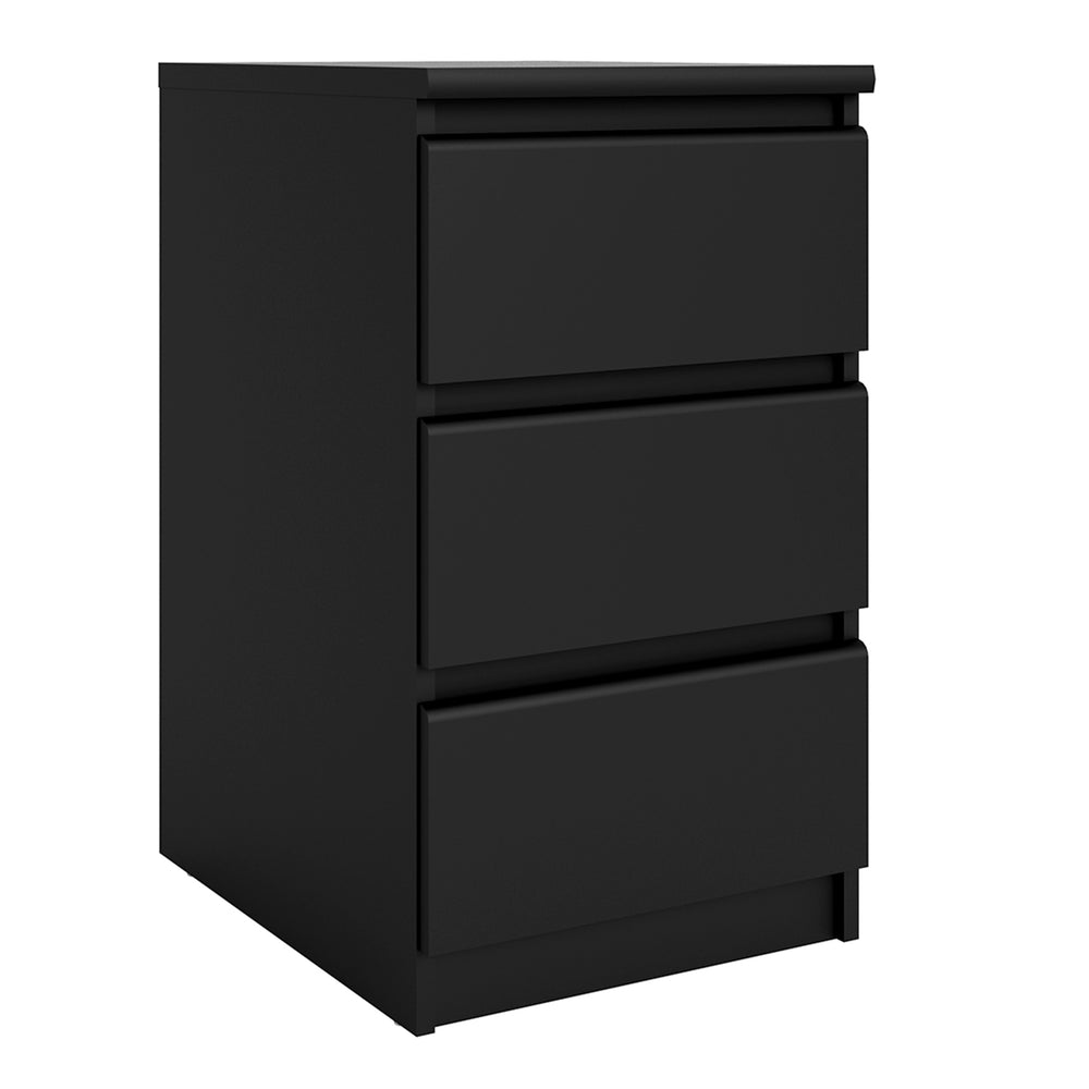 Naia Bedside Table - 3 Drawers in Black Matt