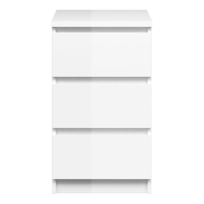 Naia Bedside Table - 3 Drawers in White High Gloss