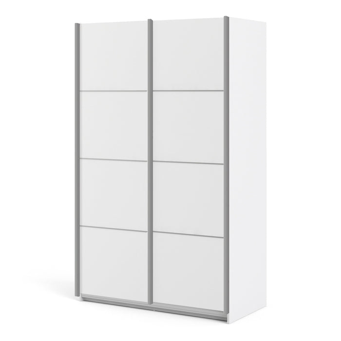 Verona Sliding Wardrobe 120cm in White with White Doors with 5 Shelves