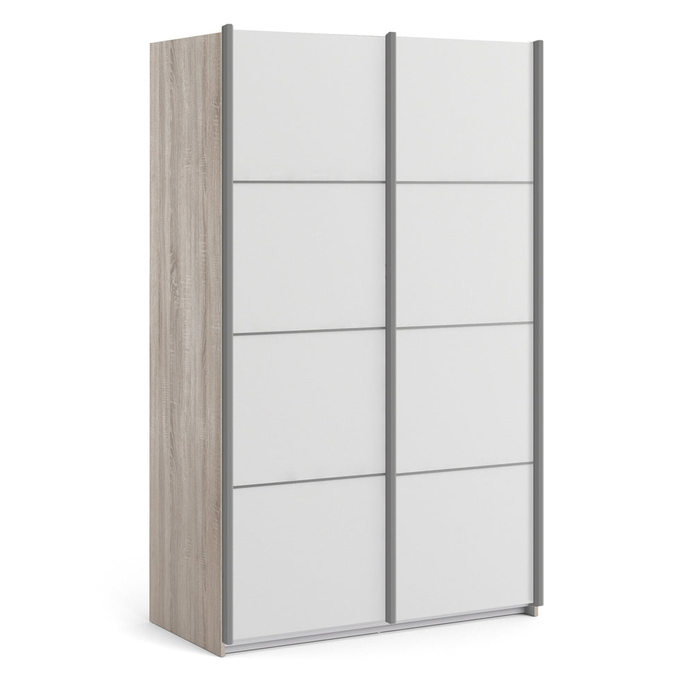 Verona Sliding Wardrobe 120cm in Truffle Oak with White Doors with 2 Shelves
