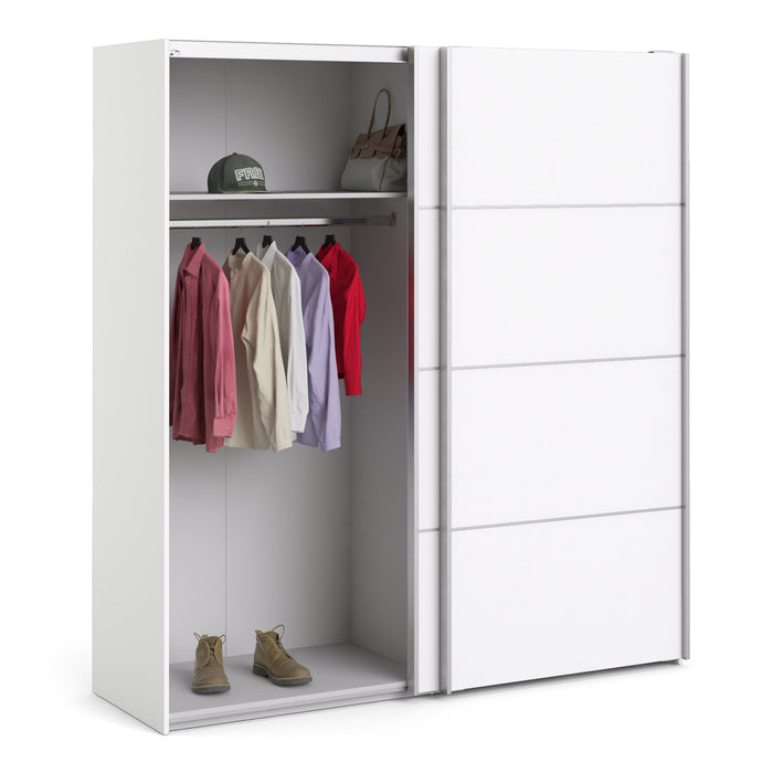 Verona Sliding Wardrobe 180cm in White with White Doors with 2 Shelves