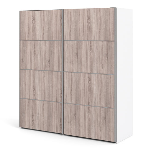 Verona Sliding Wardrobe 180cm in White with Truffle Oak Doors with 2 Shelves