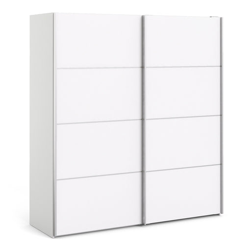 Verona Sliding Wardrobe 180cm in White with White Doors with 5 Shelves