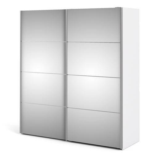 Verona Sliding Wardrobe 180cm in White with Mirror Doors with 5 Shelves