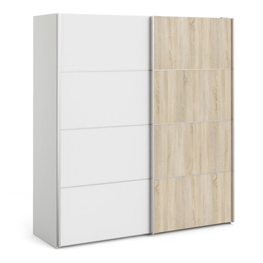 Verona Sliding Wardrobe 180cm in White with White and Oak doors with 5 Shelves