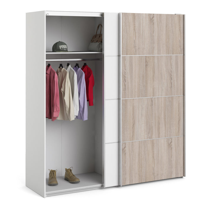 Verona Sliding Wardrobe 180cm in White with White and Truffle Oak Doors with 5 Shelves