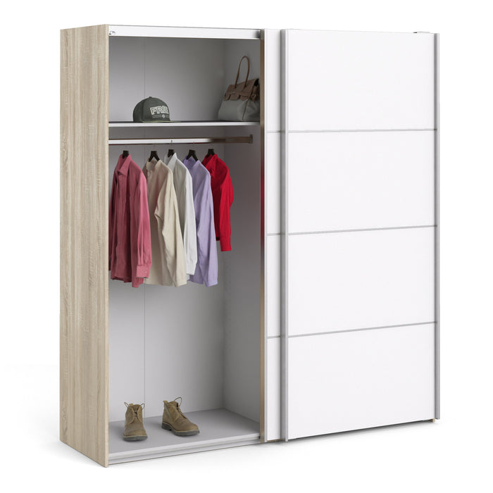 Verona Sliding Wardrobe 180cm in Oak with White Doors with 2 Shelves