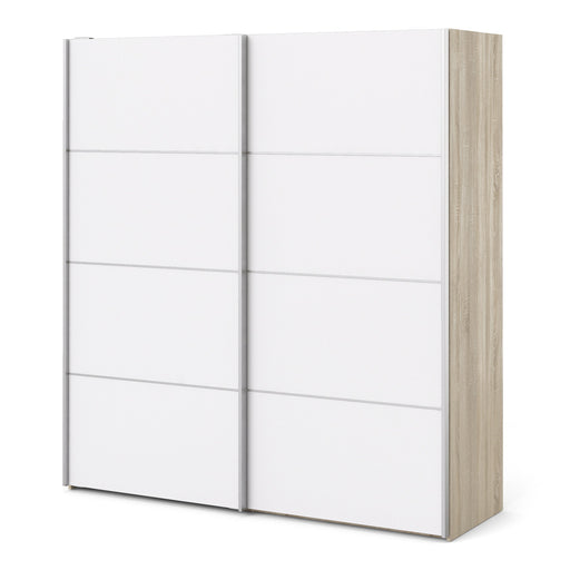 Verona Sliding Wardrobe 180cm in Oak with White Doors with 5 Shelves