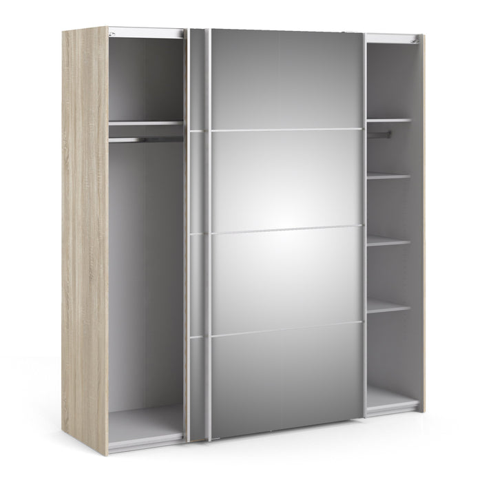 Verona Sliding Wardrobe 180cm in Oak with Mirror Doors with 5 Shelves