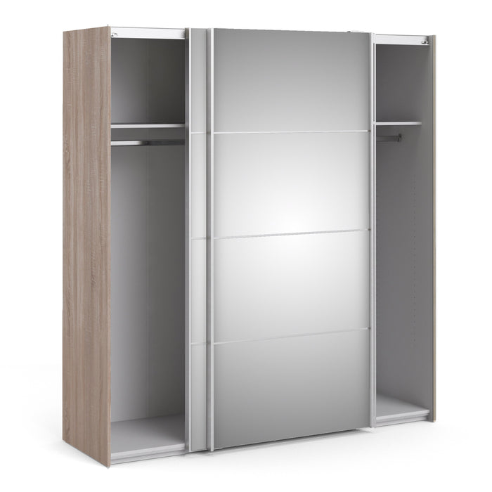 Verona Sliding Wardrobe 180cm in Truffle Oak with Mirror Doors with 2 Shelves