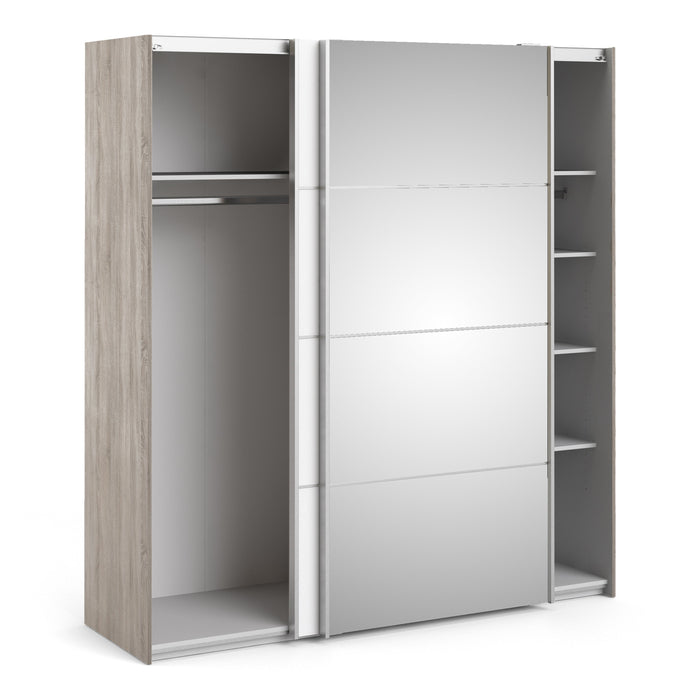 Verona Sliding Wardrobe 180cm in Truffle Oak with White and Mirror Doors with 5 Shelves