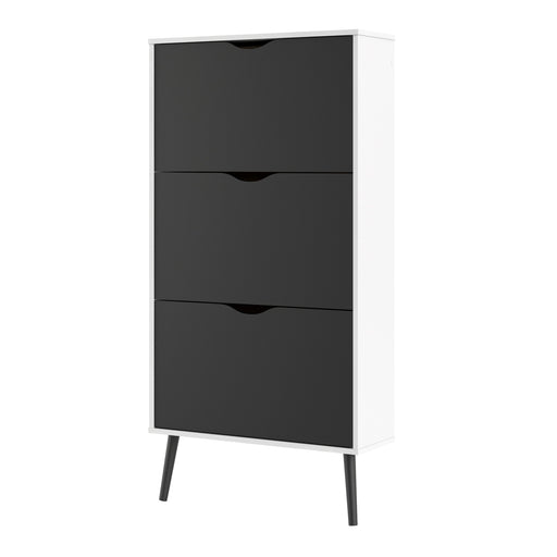 Oslo Shoe Cabinet 3 Drawers in White and Black Matt