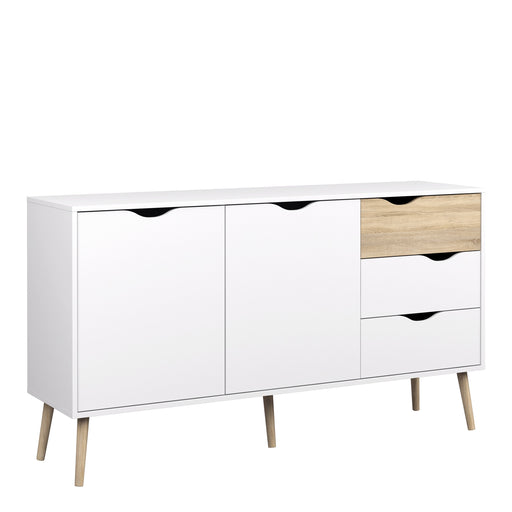 Oslo Sideboard - Large - 3 Drawers 2 Doors in White and Oak