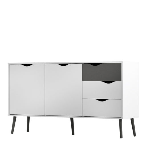 Oslo Sideboard - Large - 3 Drawers 2 Doors in White and Black Matt