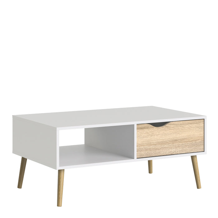 Oslo Coffee Table 1 Drawer 1 Shelf in White and Oak