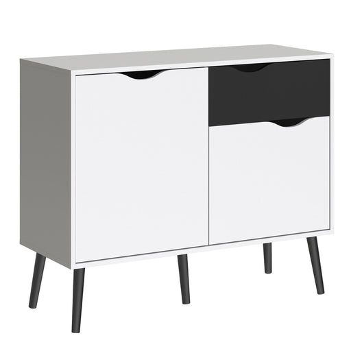 Oslo Sideboard - Small - 1 Drawer 2 Doors in White and Black Matt
