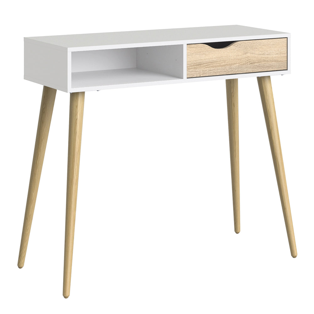 Oslo Console Table 1 Drawer 1 Shelf in White and Oak