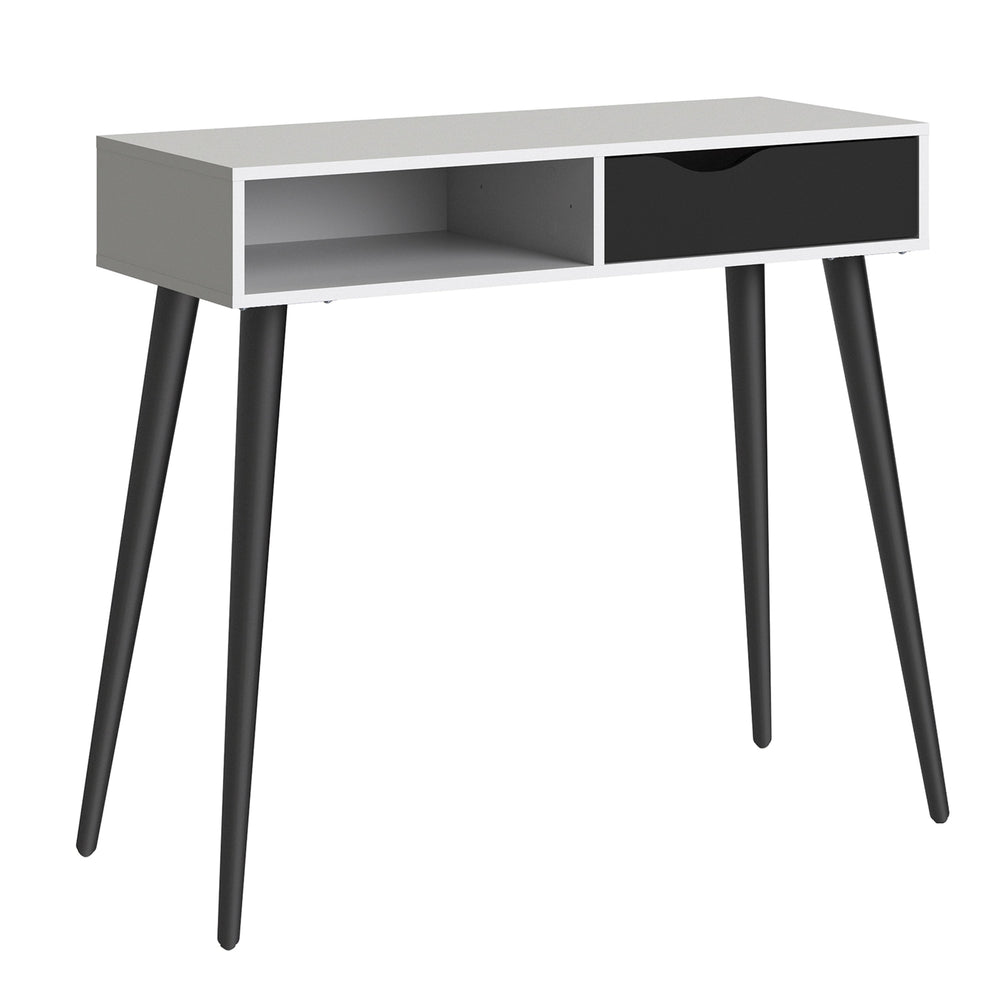 Oslo Console Table 1 Drawer 1 Shelf in White and Black Matt