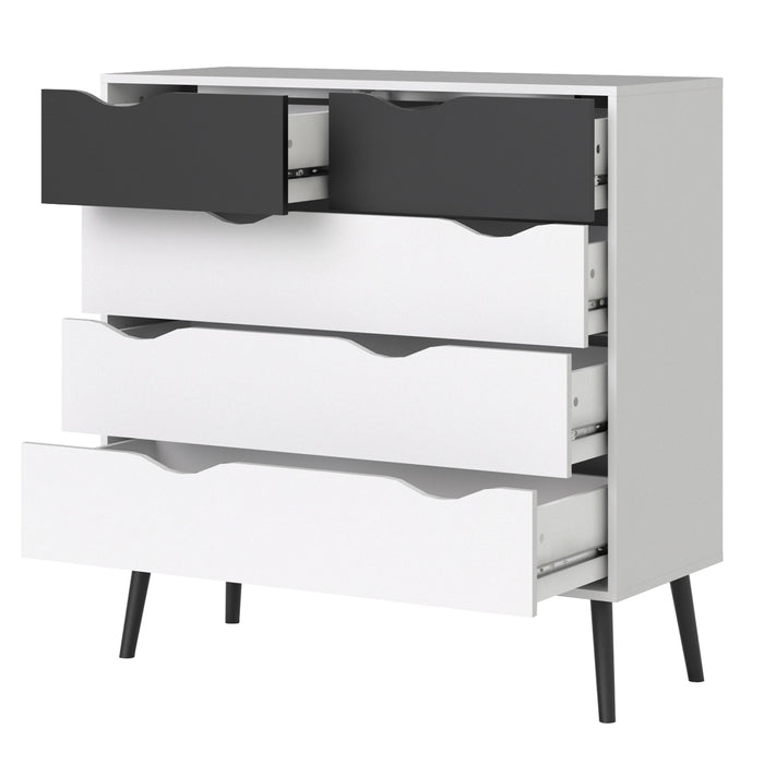 Oslo Chest of 5 Drawers (2+3) in White and Black Matt