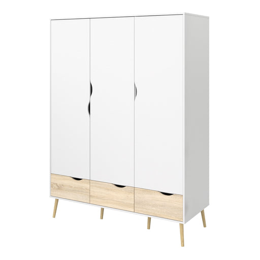Oslo Wardrobe - 3 Doors 3 Drawers in White and Oak
