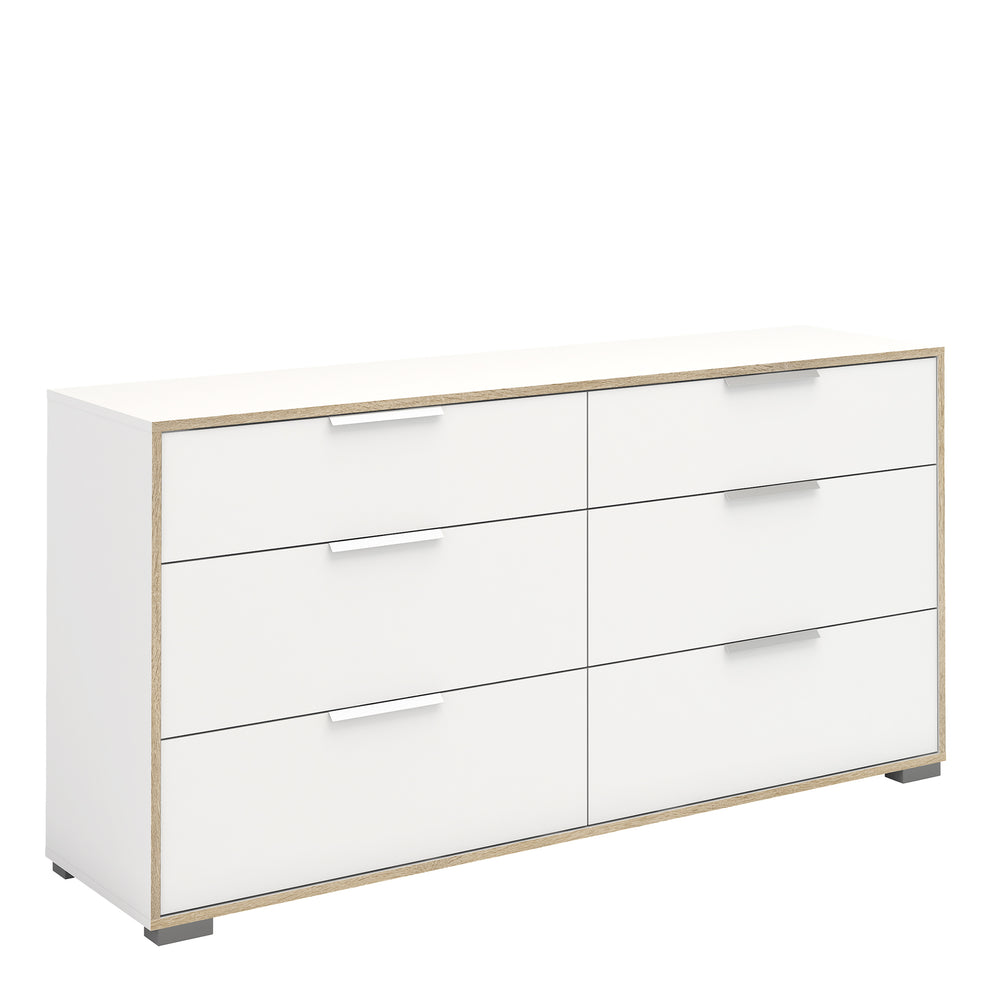 Line Wide Chest of 6 Drawers (3+3) in White and Oak