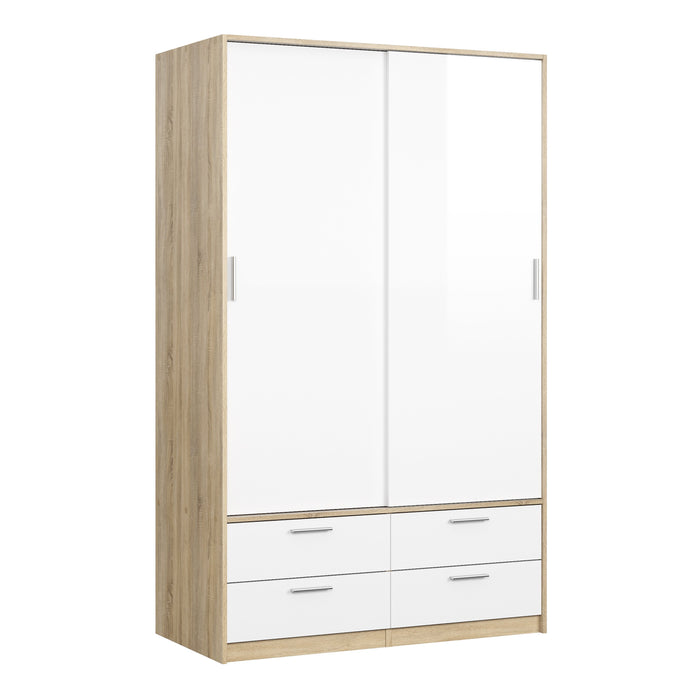 Line Wardrobe - 2 Doors 4 Drawers in Oak with White High Gloss