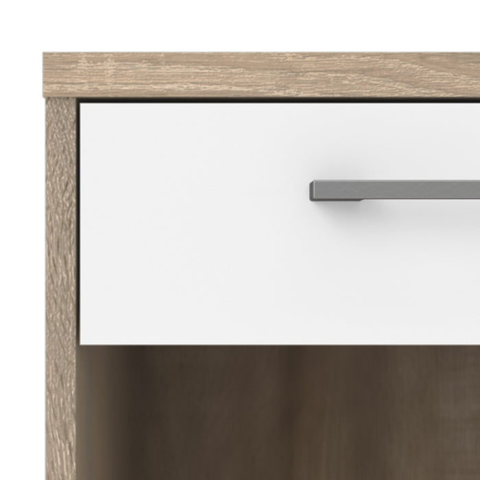 Homeline Bedside Table 1 Drawer in Oak with White High Gloss