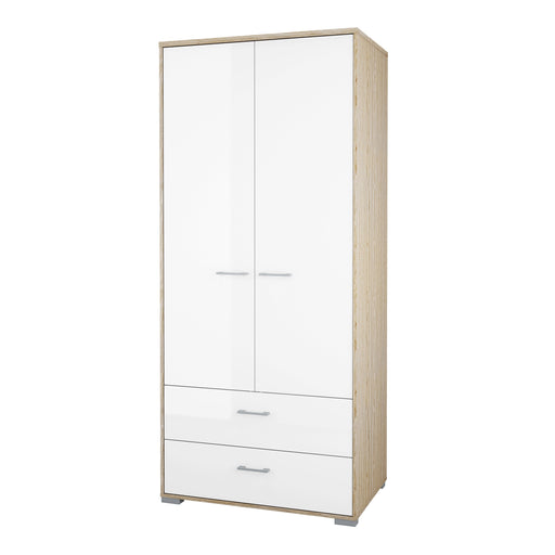Homeline Wardrobe - 2 Doors 2 Drawers in Oak with White High Gloss