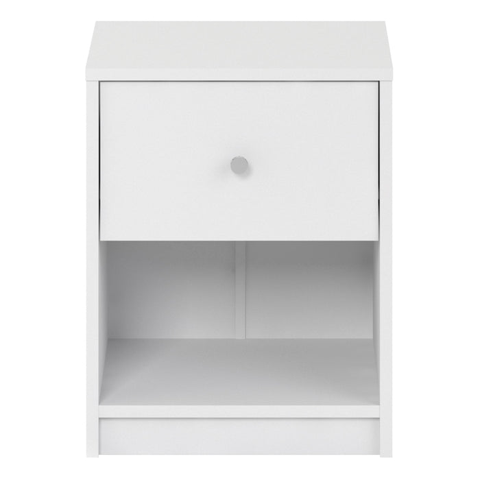 May Bedside Table 1 Drawer in White