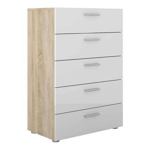 Pepe Chest of 5 Drawers in Oak with White High Gloss