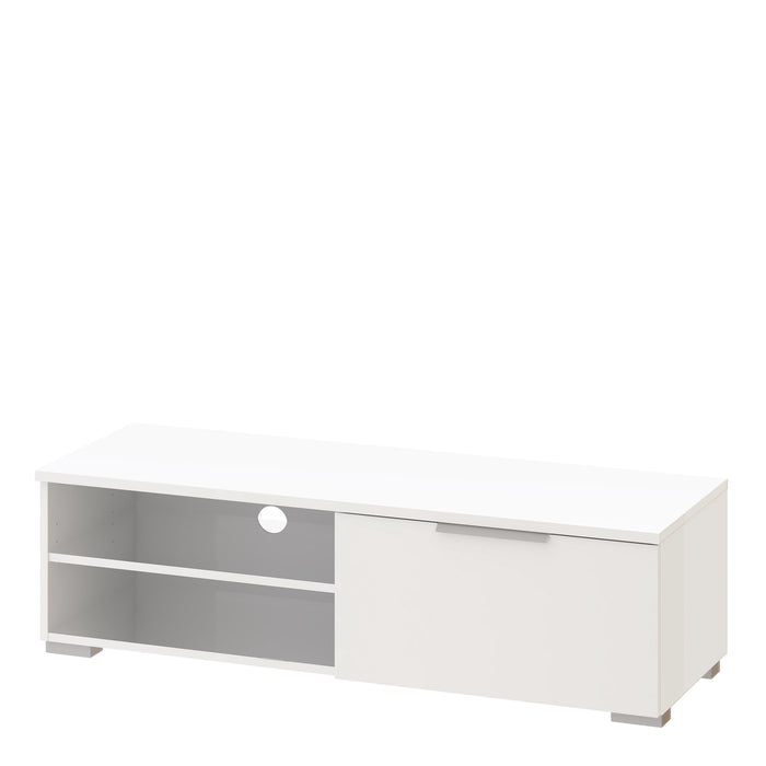 Match TV Unit 1 Drawers 2 Shelf in White High Gloss