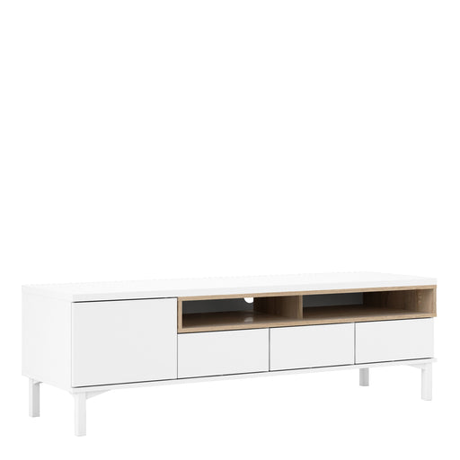 Roomers TV Unit 3 Drawers 1 Door in White and Oak
