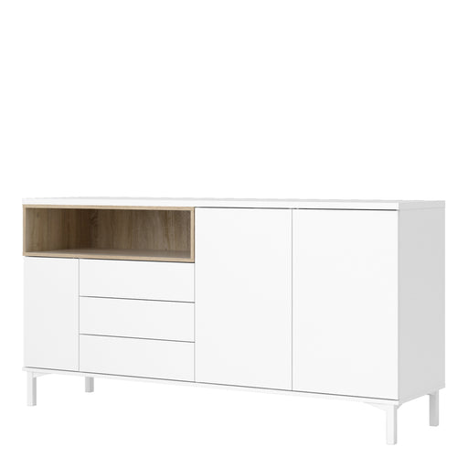 Roomers Sideboard 3 Drawers 3 Doors in White and Oak