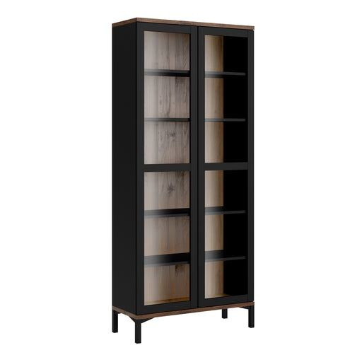 Roomers Display Cabinet Glazed 2 Doors in Black and Walnut