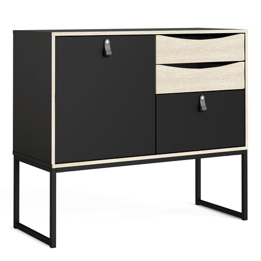 Stubbe Sideboard with 1 door + 3 drawers Matt Black Oak