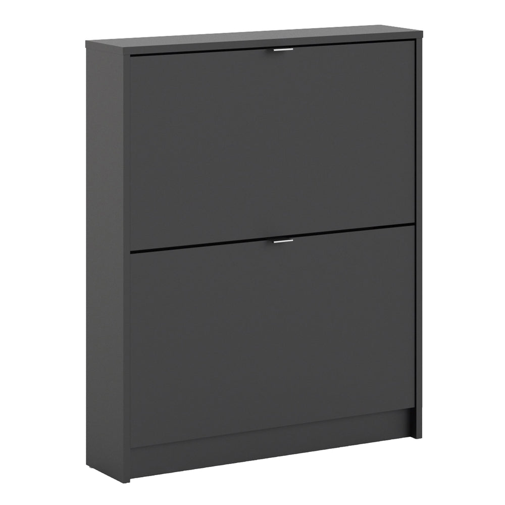 Shoes Shoe cabinet  w. 2 tilting doors and 1 layer Black