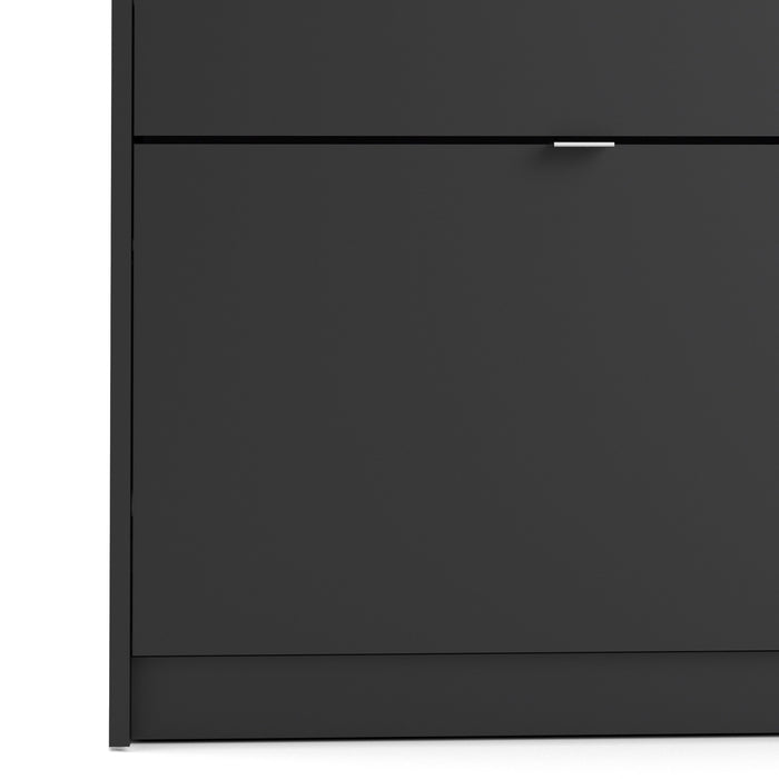 Shoes Shoe cabinet  w. 3 tilting doors and 1 layer Black