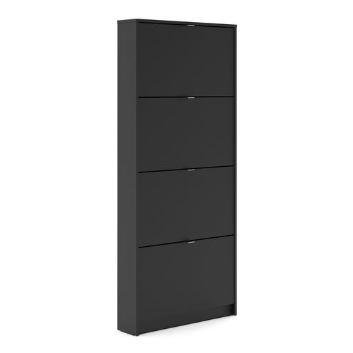 Shoes Shoe cabinet  w. 4 tilting doors and 1 layer Black