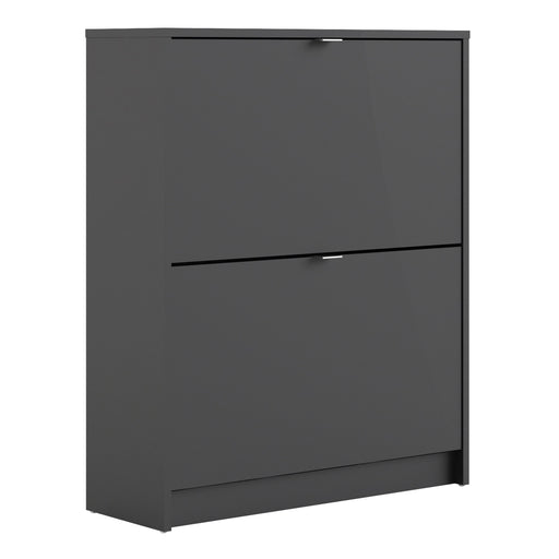 Shoes Shoe cabinet  w. 2 tilting doors and 2 layers Black