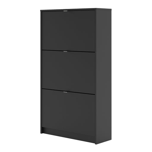 Shoes Shoe cabinet  w. 3 tilting doors and 2 layers Black