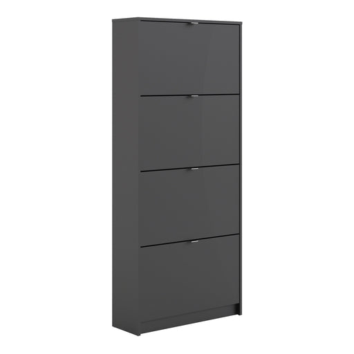Shoes Shoe cabinet  w. 4 tilting doors and 2 layers Black