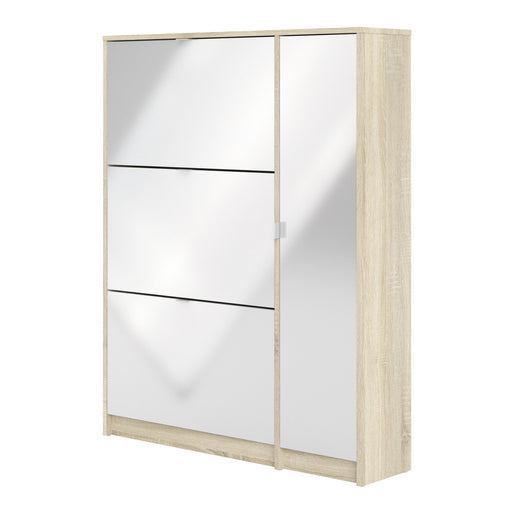 Shoe cabinet w. 3 tilting doors and 2 layers +  1 door White