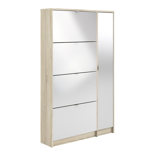 Shoe cabinet w. 4 tilting doors and 2 layers +  1 mirror door White