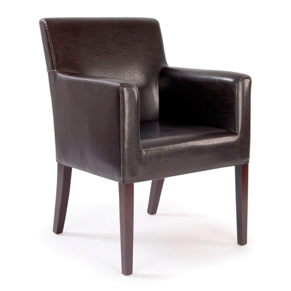 Metro  Modern Cubed Armchair Upholstered in a Durable Leather Effect Finish - Brown