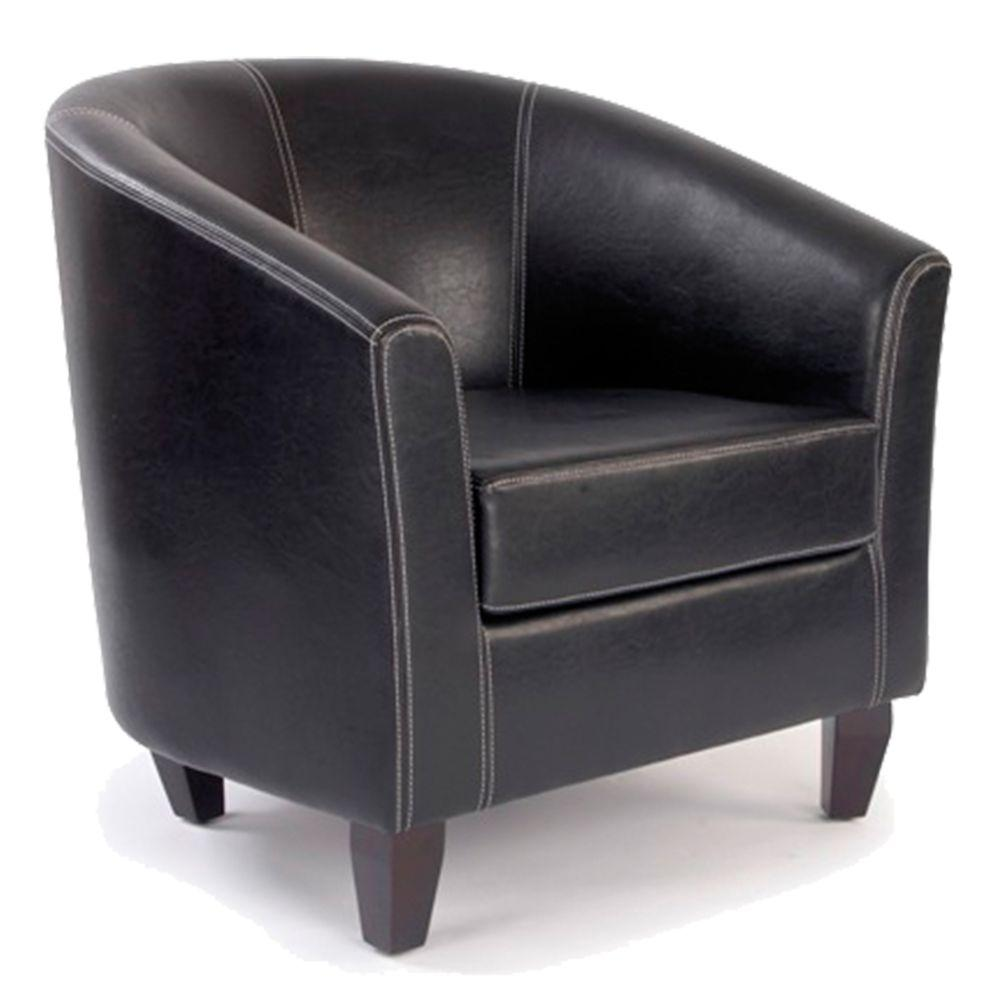 Metro  High Back Tub Style Armchair Upholstered in a durable Leather Effect Finish - Brown