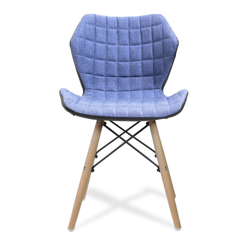 Amelia Stylish Lightweight Fabric Chair with Solid Beech Legs and Panel Stitching - Denim