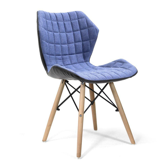 Amelia Stylish Lightweight Fabric Chair with Solid Beech Legs and Contemporary Panel Stitching - Denim